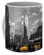 Yellow Cabs In Midtown Manhattan, New York Coffee Mug