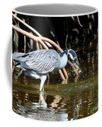 Yellow Crowned Night Heron Catches A Crab Coffee Mug