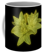 Yellow Lilies On Black Coffee Mug by Sandy Keeton