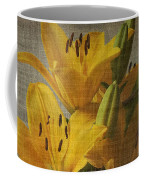 Yellow Lilies With Old Canvas Texture Background Coffee Mug
