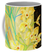 Yellow Orchids With Black Screen Coffee Mug