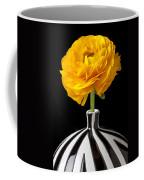 Yellow Ranunculus In Striped Vase Coffee Mug
