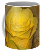 Yellow Rose With Old Notes Paper On The Background Coffee Mug