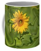 Yellow Sunflower On Green Background Coffee Mug