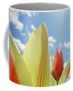 Yellow Tulip Flower Art Prints Spring Blue Sky Clouds Baslee Troutman Coffee Mug