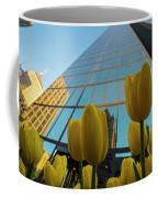 Yellow Tulips Looking Up At The Hancock Boston Ma Coffee Mug