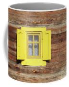 Yellow Window On Wooden Hut Wall Coffee Mug
