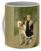 Young Child And A Big Dog Coffee Mug by Luigi Toro