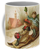 Young Girl And Boy Tobogganing, Victorian Christmas And New Year Card Coffee Mug
