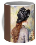Young Girl Holding A Bouquet Of Tulips, Coffee Mug