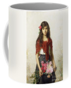 Young Girl With Blossoms Coffee Mug by Alexei Alexevich Harlamoff