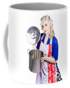 Young Housewife Lifting Lid On A Home Cooking Pot Coffee Mug