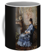 Young Lady At The Fireplace Coffee Mug