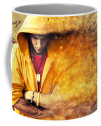 Young Man In Hooded Sweatshirt On Grunge Wall Coffee Mug