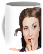 Young Model With Bright Make-up And Clean Nails Coffee Mug