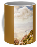 Young Traveler Looking At Mountain Landscape Coffee Mug