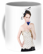 Young Woman Drinking Alcoholic Beverage Coffee Mug