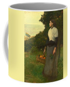 Young Woman In A Garden Of Oranges Coffee Mug