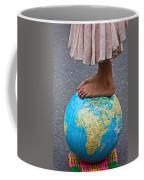Young Woman Standing On Globe Coffee Mug