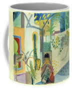 Young Woman With A Horse And A Donkey Coffee Mug