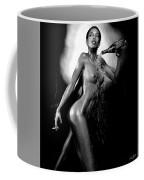 Young Woman With Champagne Coffee Mug