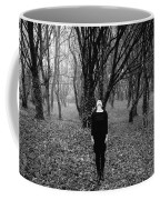 Young Woman With Her Head Tilted Back While Standing In A Forest Coffee Mug
