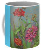 Zinnias With Bee Coffee Mug