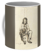 Zittende Jongen Met Hoed Op Schoot Bij Een Deuropening Coffee Mug