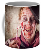 Zombie At Dentist Holding Toothbrush. Tooth Decay Coffee Mug