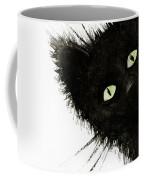 Black Fuzzy Cat Peaking From Around The Corner Coffee Mug