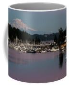 Pink Purple Glow Over Mount Rainier And Gig Harbor Marina After Sunset Coffee Mug