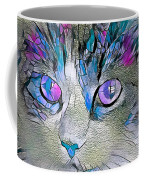 Purple Stained Glass Kitty Coffee Mug by Don Northup