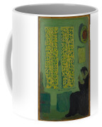 The Green Interior  Figure Seated By A Curtained Window   Coffee Mug