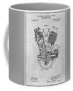 1914 Spacke V Twin Motorcycle Engine Gray Patent Print Coffee Mug