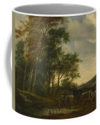A Landscape With A Carriage And Horsemen At A Pool  Coffee Mug