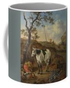 A White Horse Standing By A Sleeping Man  Coffee Mug