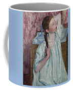 Girl Arranging Her Hair   Coffee Mug