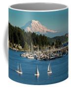 Sailboats At Gig Harbor Marina With Mount Rainier In The Background Coffee Mug