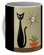 Tabletop Cat With Starburst Clock Coffee Mug by Donna Mibus