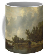 A River Landscape With Fishermen  Coffee Mug