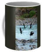 4 Crows At The River Coffee Mug by Mary Lee Dereske