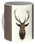 A Carved Wooden Red Deer Trophy With Red Deer Antlers, 19th Century Coffee Mug