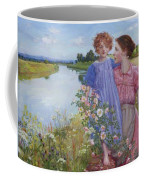 A Mother And Child By A River With Wild Roses 1919 Coffee Mug