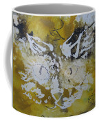 Abstract Cat Face Yellows And Browns Coffee Mug by AJ Brown