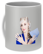 Adorable Female Pinup Cleaner Holding Dish Cloth Coffee Mug