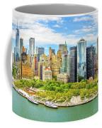Aerial Panorama Of Downtown New York Skyline Coffee Mug