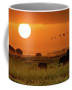 African Elephants Walking At Golden Sunrise Coffee Mug
