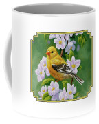 Female American Goldfinch And Apple Blossoms Coffee Mug