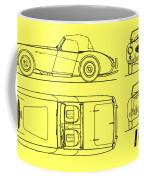 Austin Healey 100 Blueprint - Black Coffee Mug