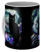 The Cat With Aquamarine Eyes And Celestial Crystals Coffee Mug
